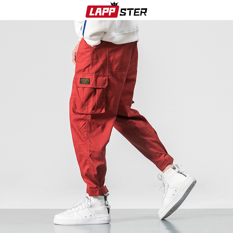 LAPPSTER Winter Streetwear Cargo Pants Men 2019 Thick Overalls Mens Hip Hop Wool Joggers Pants Colorful Harem Pants Plus Size