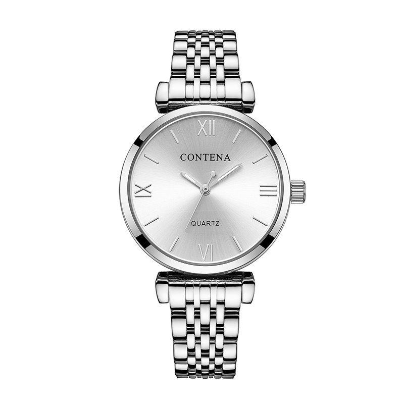 CONTENA Women's Watches Top Brand Luxury Silver Watch Women Watches Fashion Ladies Watch Clock relogio feminino reloj mujer sinobi top brand ceramic watch women watches luxury women s watches week date ladies watch clock relogio feminino reloj mujer