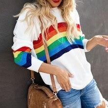 New Fashion Autumn Winter Women Sweaters Rainbow Pattern Printed Long Sleeve Tops O-Neck Pullovers Knitted Loose Sweaters Tops цена в Москве и Питере