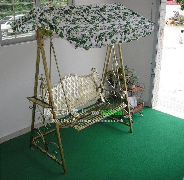 Balcony Garden Flowers Hanging Hammock Rocking Chair Wrought Iron Patio Swing Double Outdoor