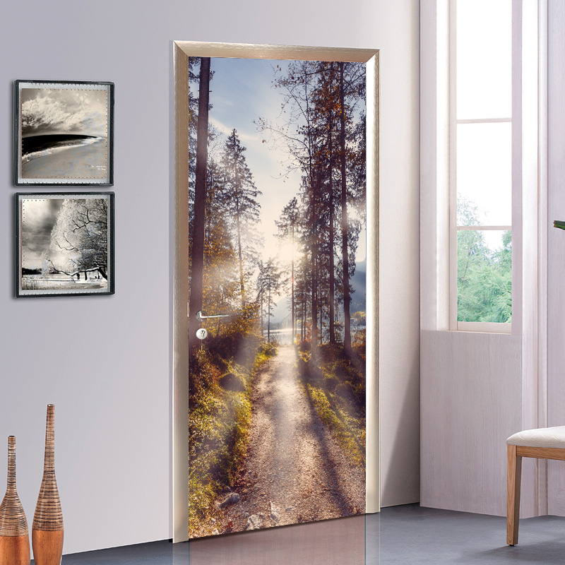 Extraíbles creativo de estilo chino bosque profundidades puerta etiqueta engomada de papel de calcomanías para habitación decoración hogar Decoración