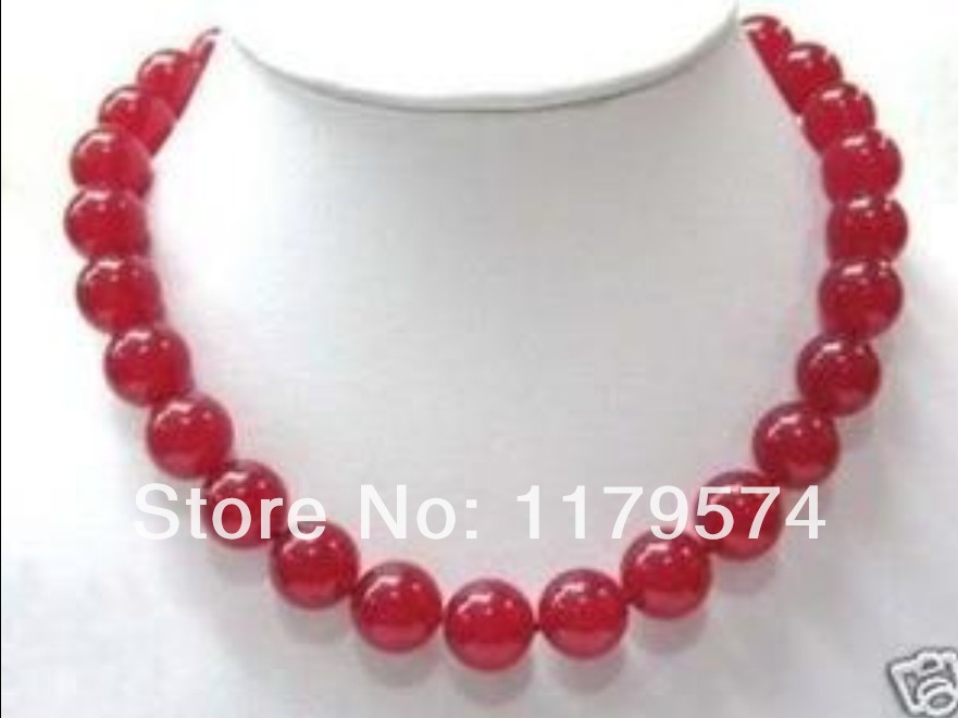 Hot free deliver goods wholesale new Charming!Beautiful 10mm Red Chalcedony Beads Neckla ...