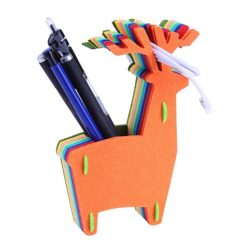 DIY игрушки животные узор подарок ремесло ручной работы из войлока ткань Pen Holder стол организатор карандашница офисные Ева детские игрушки на...