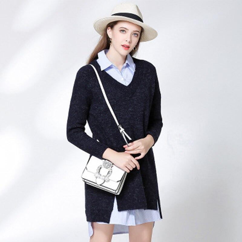 Haute qualité à manches longues chandail lâche noir grand V mode all-match tricoté hiver robe manches tête filles confort pulls