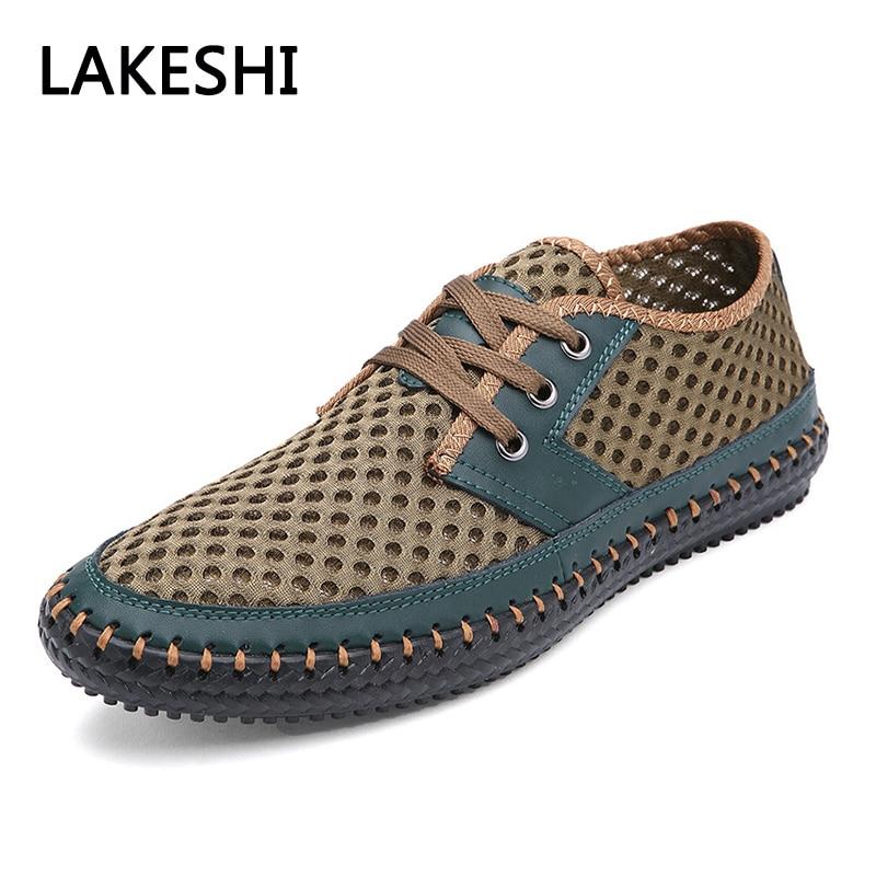 2018 Men Sandals Mesh Summer Men Shoes Lace-Up Breathable Men Casual Shoes Plus Size 44 45 46