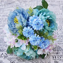 Silk Hydrangea Watercolor fake Peony Handmade bridal bouquet Home wedding photography props decoration artificial flowers