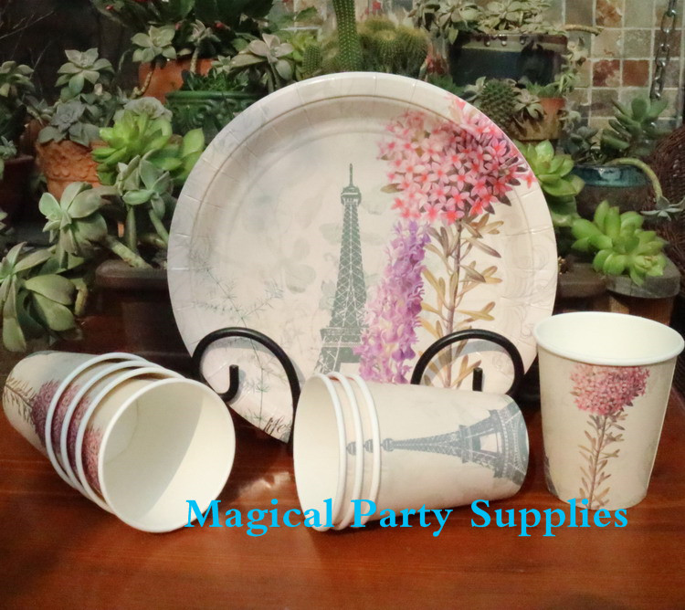 Wedding Party Supplies 16 People Party Paper Cups Plates Napkins Vintage Garden Eiffel Tower Design-in Disposable Party Tableware from Home u0026 Garden on ... & Wedding Party Supplies 16 People Party Paper Cups Plates Napkins ...
