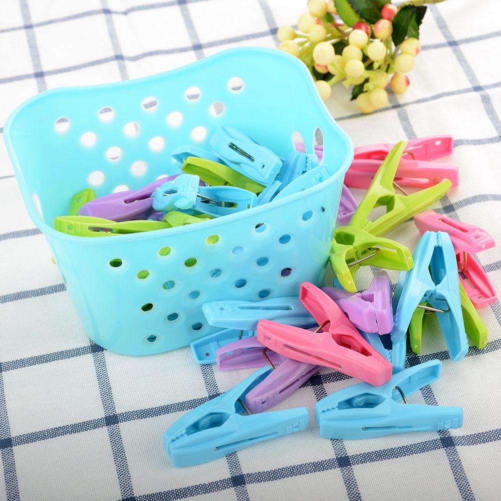 30Pcs Plastic Clothespin Laundry Clothes Pin Large Spring With Basket Convenient Bag Peg