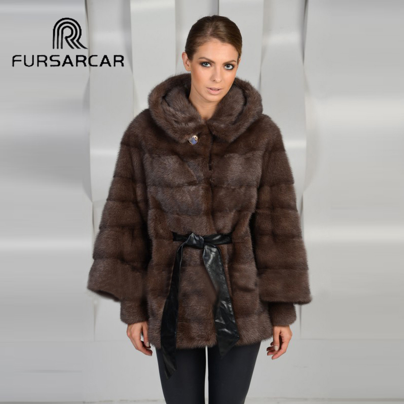 FURSARCAR 2018 Luxury Real Mink Fur Coats For Women With Fur Hood 70 CM Mid Long Genuine Leather Mink Fur Female Coat in Real Fur from Women 39 s Clothing