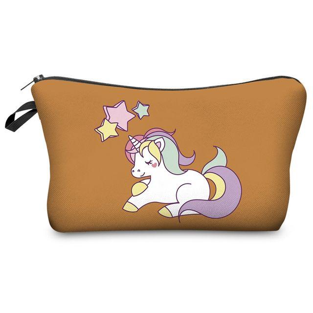 Unicorn print cosmetic bag