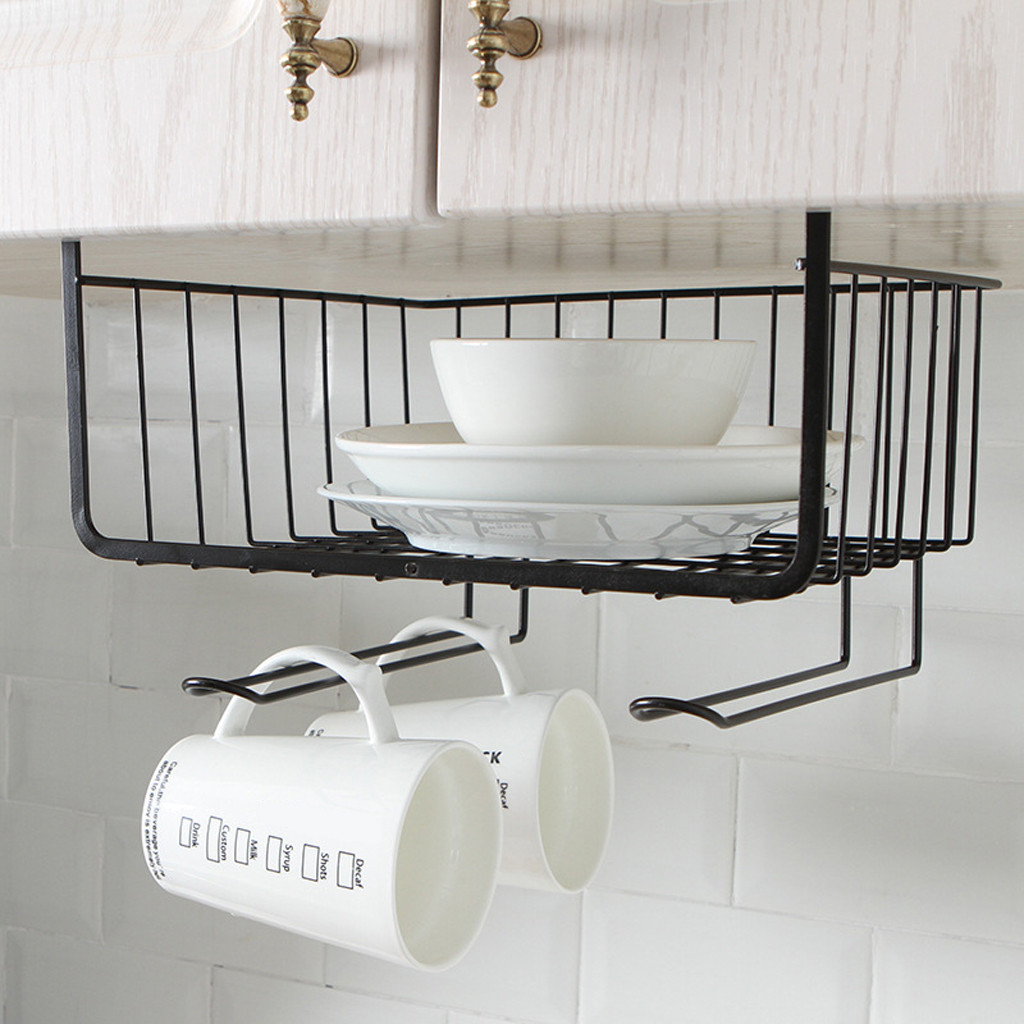 Kitchen Storage Bin Under Shelf Wire Rack Cabinet Basket Iron Storage Tableware Cup Organizer Holder Stand Kitchen Tools Hanging