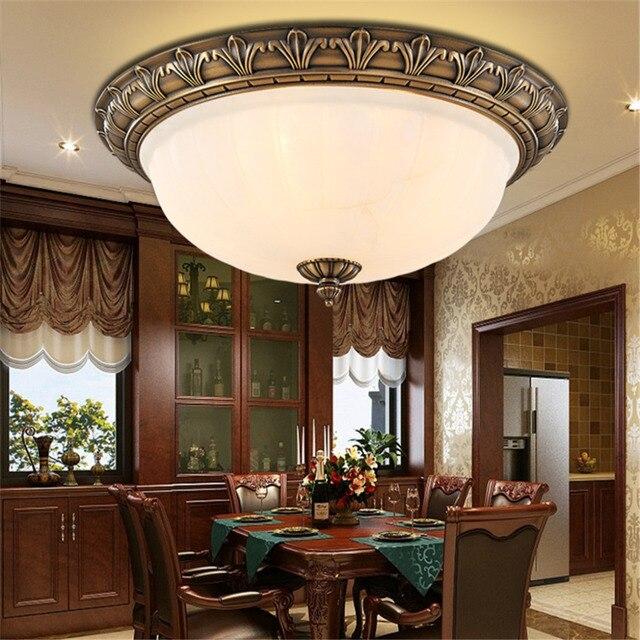 Floureon Deckenleuchte, Retro Europäischen Stil LED Licht, Messing 2 Licht  10 Zoll Deckenbeleuchtung