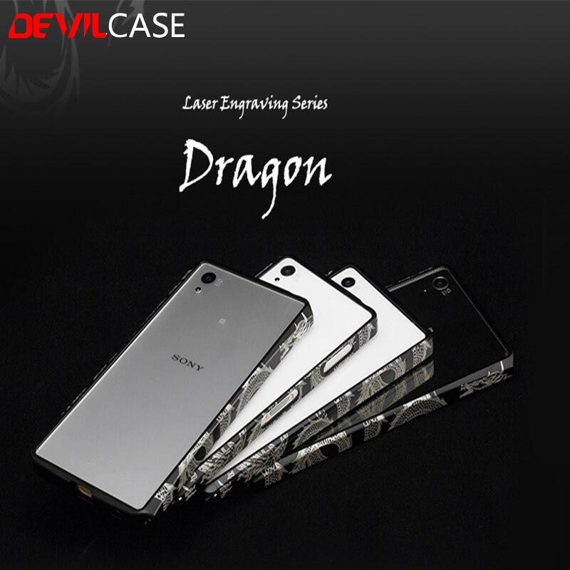 imágenes para DEVILCASE Grabado Láser Dragón Parachoques Para Xperia Z4 Z5 Z5 + Tallado Diseño de la Carpa Para Xperia Z3 Z5 Premium + metálica de Protección