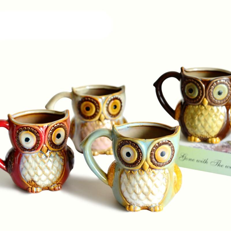 3D Animal Cute Owl Mugs 300ml Cartoon Coffee Mug Ceramic Milk Tea Cups Breakfast Morning Coffee
