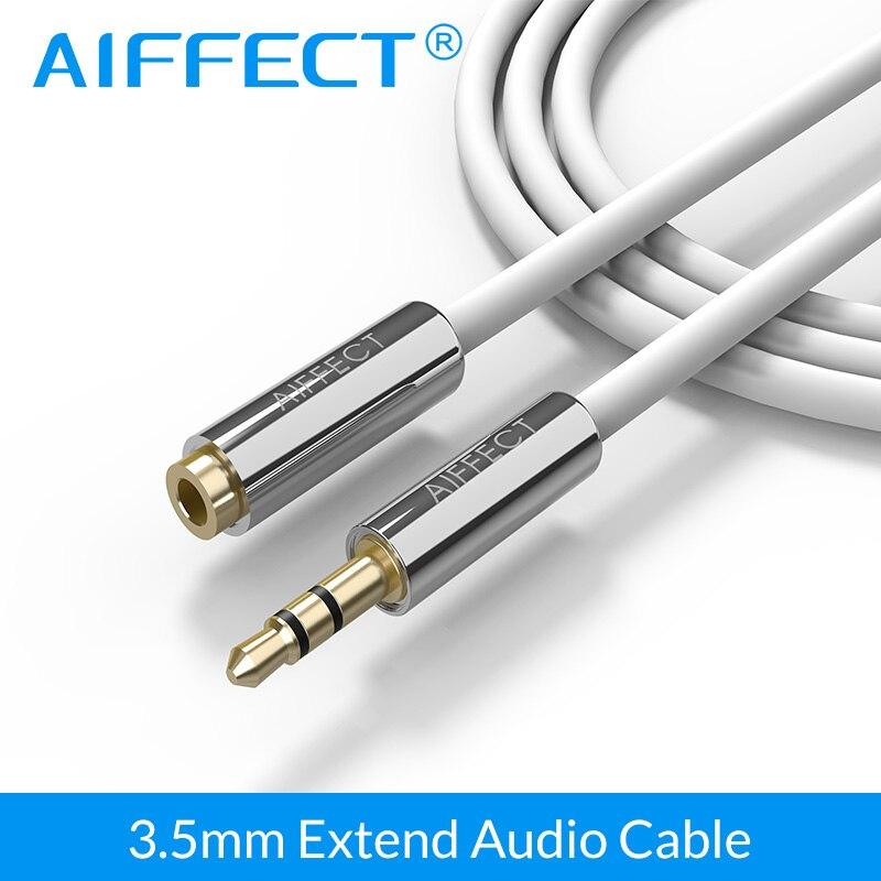 AIFFECT Jack 3.5mm Male to Female AUX Audio Cable 1M 1.5M Headphone Aux Extension For PC/DVD/TV/Car