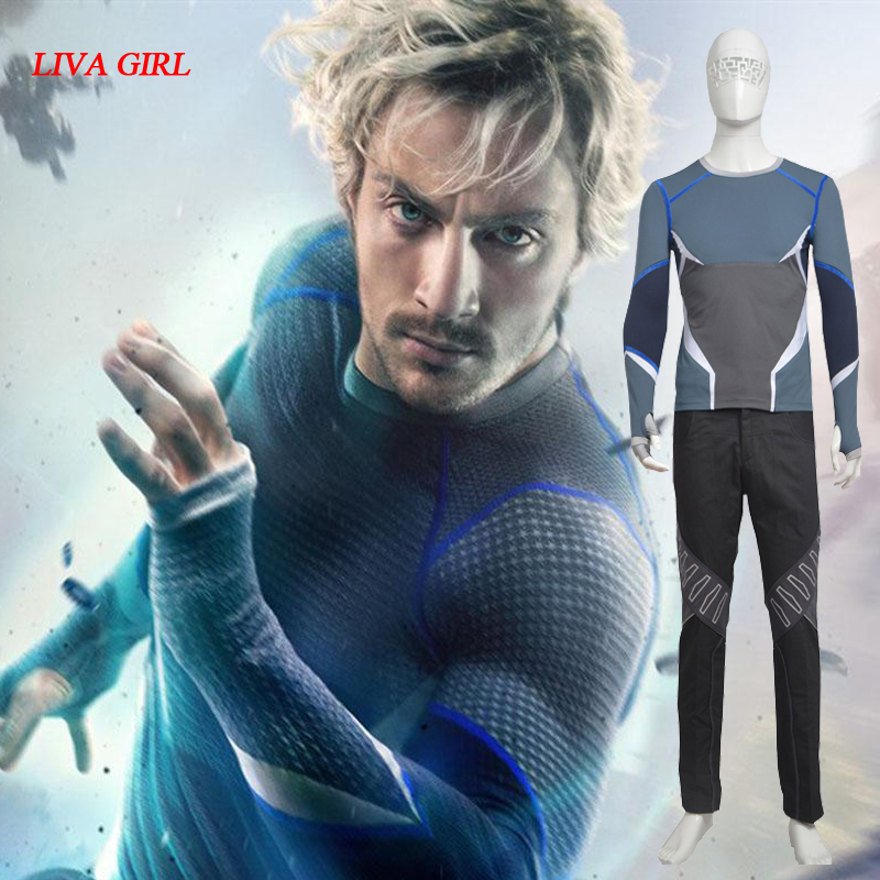 Hot Sale The Avengers Age of Ultron Quicksilver Costume Superhero Cosplay Full Set Halloween Party Set-in Movie & TV costumes from Novelty ...