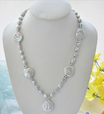 ddh003399 gray baroque coin freshwater pearl pendant necklace 28% Discount