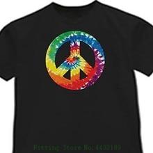 Tie - Dye Peace Sign Tie Dye Shirt Tye Cool Black T Shirt Shirts Homme Novelty Tshirt Men Cotton  O-Neck