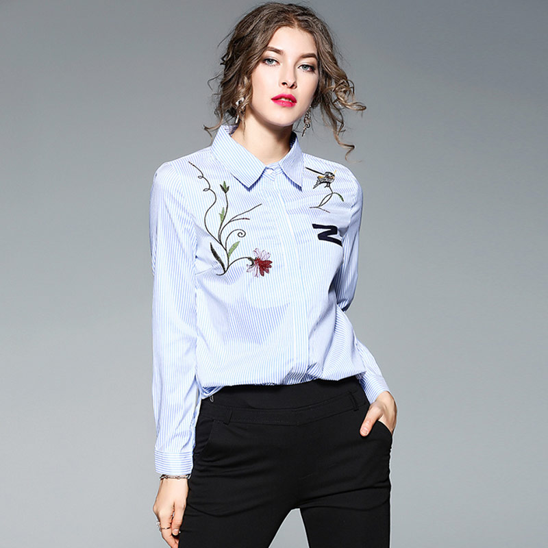 7a0f1e77b06 Willstage Blue Striped Shirts Women Floral Embroidery Blouse Formal Office  ladies Work wear elegant New 2018 Spring Autumn Tops-in Blouses   Shirts  from ...