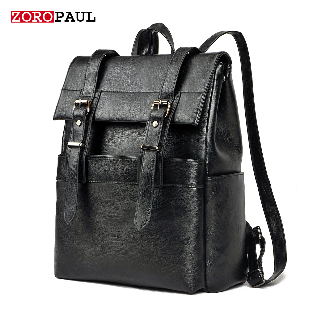 ФОТО ZOROPAUL Men PU Patent Leather Backpacks Men's Fashion Backpack & Travel Male Bags Western Boys College Style Bags Men Backpack