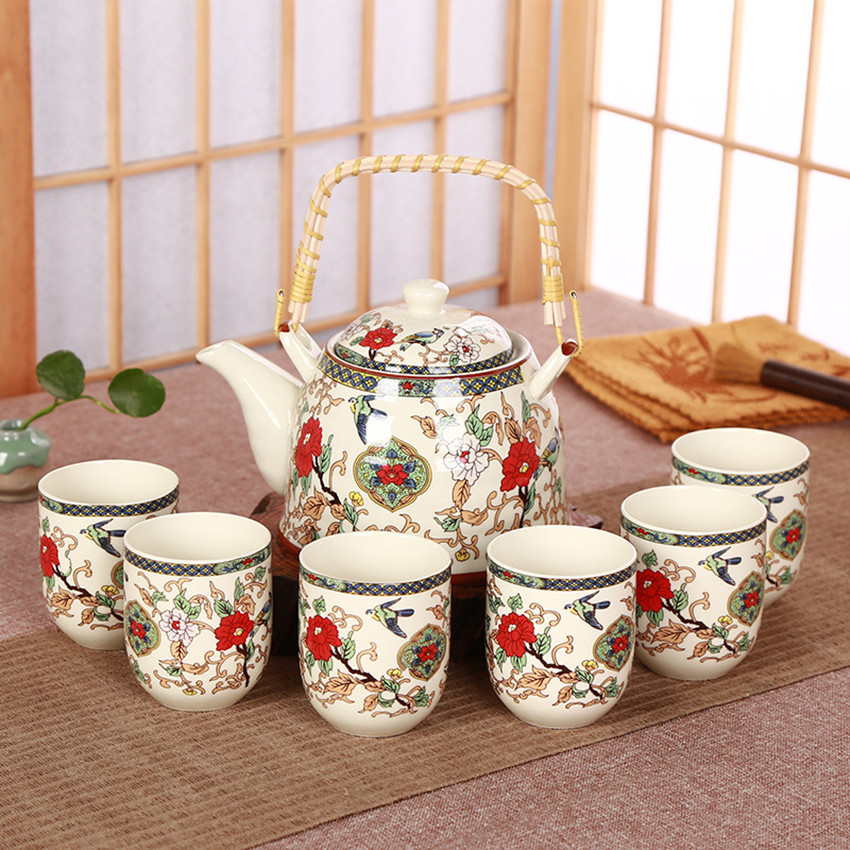 Juego de tazas de té de cerámica de alta calidad estilo chino Retro 1 tetera 6 tazas de té de GongFu China conjunto azul y juego de té de porcelana blanca-in Otros utensilios especiales de cocina from Hogar y Mascotas    1