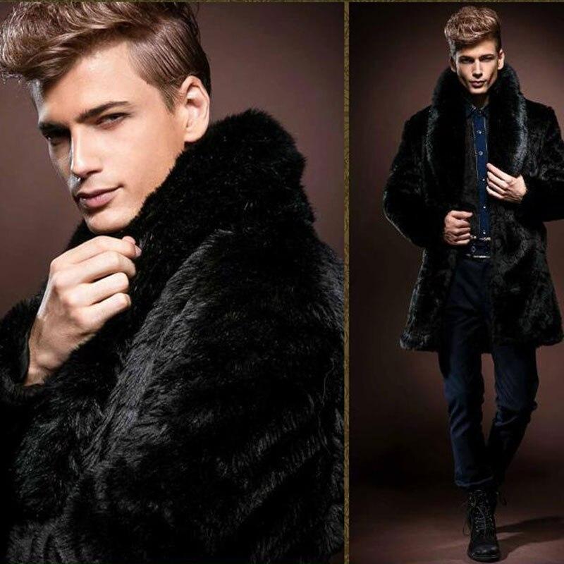 2018 w nowym stylu w zimie, męskie fałszywe futro płaszcz z norek, grubsze płaszcze, długi odcinek i brytyjski styl/darmowa wysyłka w Płaszcze ze sztucznej skóry od Odzież męska na  Grupa 3