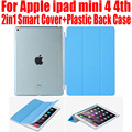 50pcs/Lot For ipad mini 4 3 2 2in1 Magnetic Smart Cover + Plastic translucent case PU Leather Case For iPad Mini 4/3/2 IM404 Image