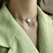 LouLeur 리얼 925 스털링 실버 하트 짧은 체인 목걸이 로맨틱 스타 지르콘 파티 목걸이 여성 패션 파인 쥬얼리 선물
