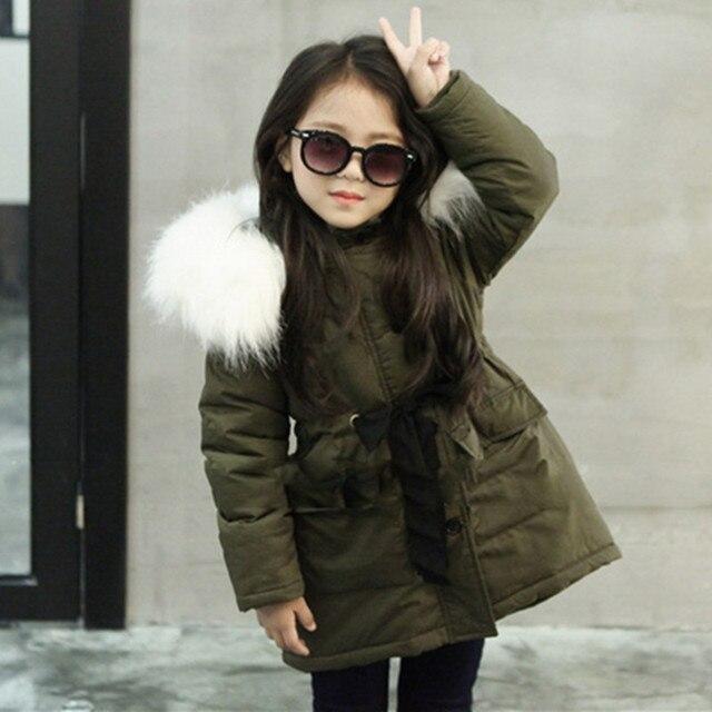 8c747b0a9c4f Girls Winter Coat Children s Faux Fur Collar Jackets Winter Kids ...