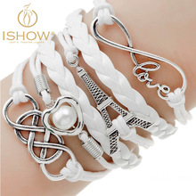 Buy 1 get 1 Bracelets fashion jewelry gift infinite double leather multilayer Charm bracelet for woman jewelry wholesale price