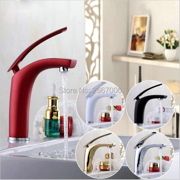 Free Shipping Fancy Design Multi-Color Painting Faucets Gold/Chorme/White/Red/Antique/Brushed/Black Faucet Crane Basin Tap ZR590
