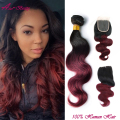 Hot Body Wave With Closure 1B Burgundy Ombre Human Hair Bundles With Closure Red Peruvian Human Hair Extensions With Closure