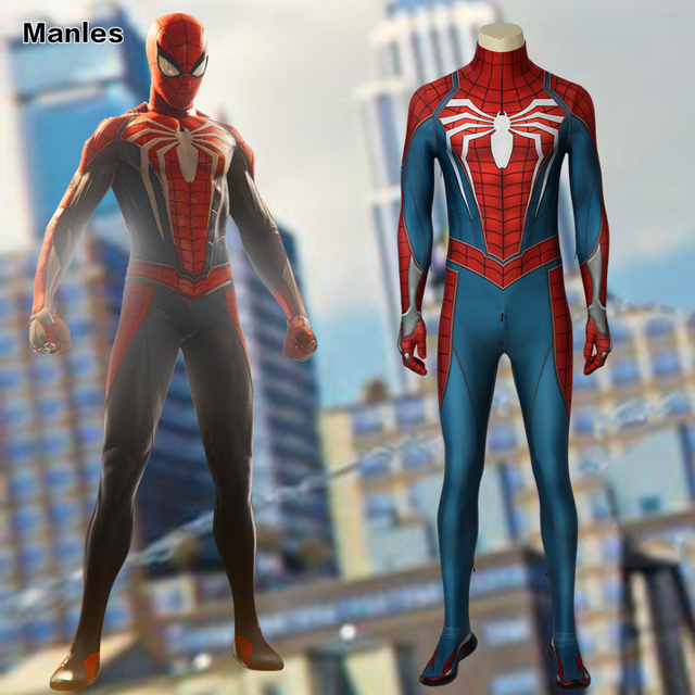 PS4 Game Marvel's Spider-Man Costume Homecoming Cosplay Carnival Adult Superhero Spiderman Jumpsuit Halloween With Shoes Sole