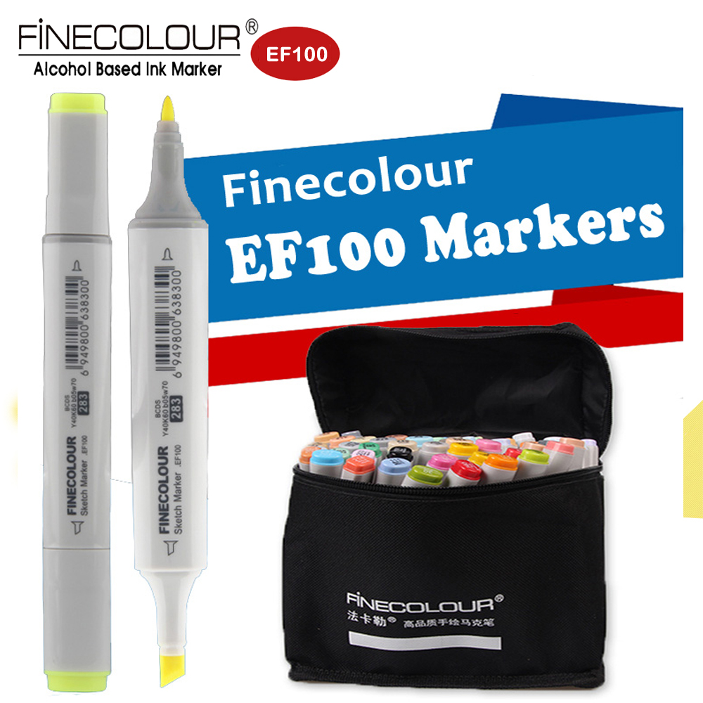 Finecolour EF100 Dual Refill Markers Drawing Graphic Pens Student Set Alcohol Art Sketch Marker for Anime/Architecture Canetas touchnew 60 colors artist dual head sketch markers for manga marker school drawing marker pen design supplies 5type