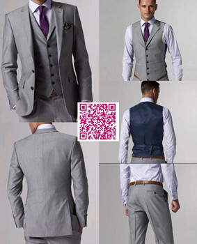 Custom Made High Quality Gray Wedding/Business/Formal Suits ,Bespoke Classic Black Wedding Coat For Men,Cheap Groom Tuxedos