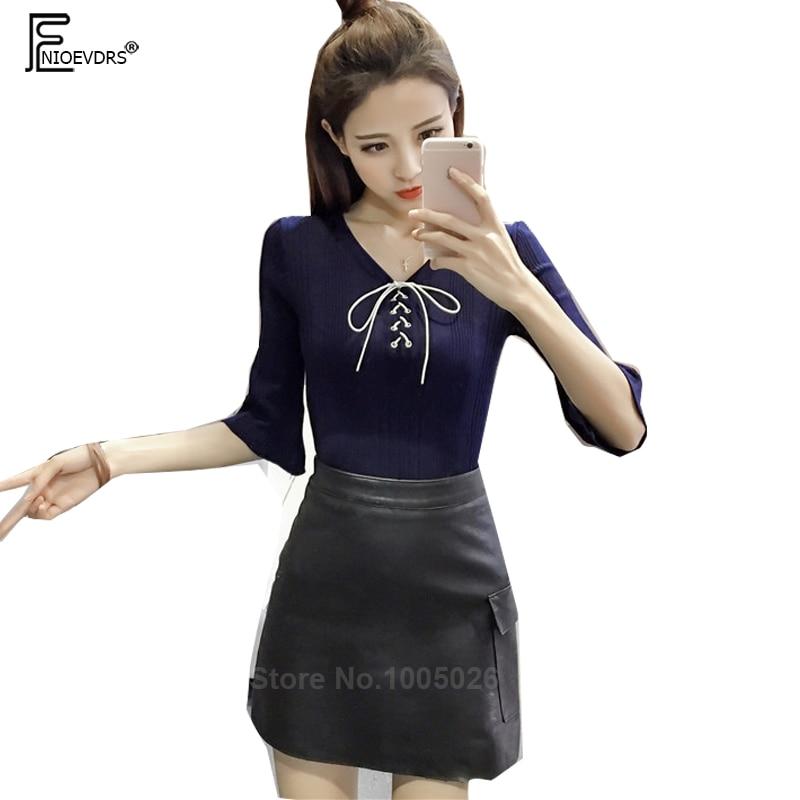 Cute Sweet Top Women Fashion Basic Wear Bow Tie Pullovers Sweaters font b Slim b font