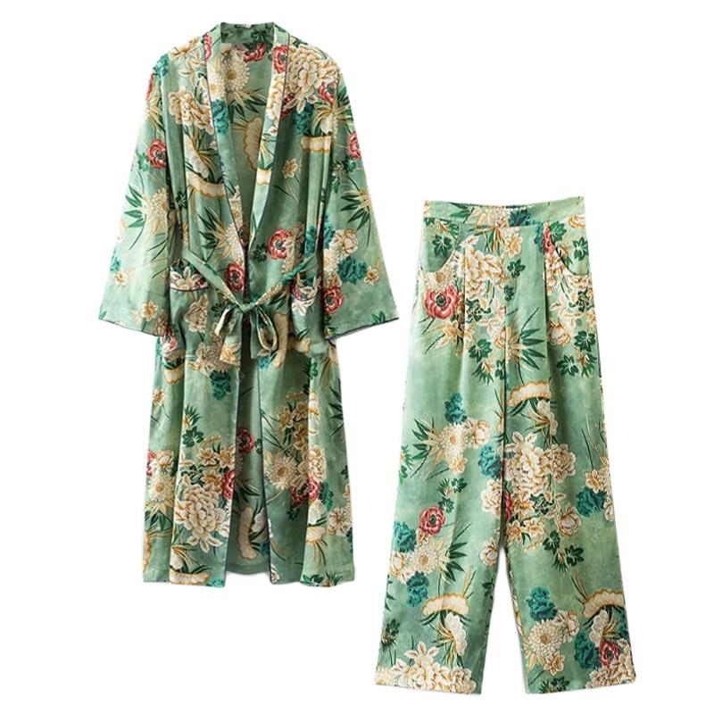 Set Female 2018 Summer New Japanese Temperament Fashion Long Kimono + High Waist Wide Leg Pants Elegant Thin Suit