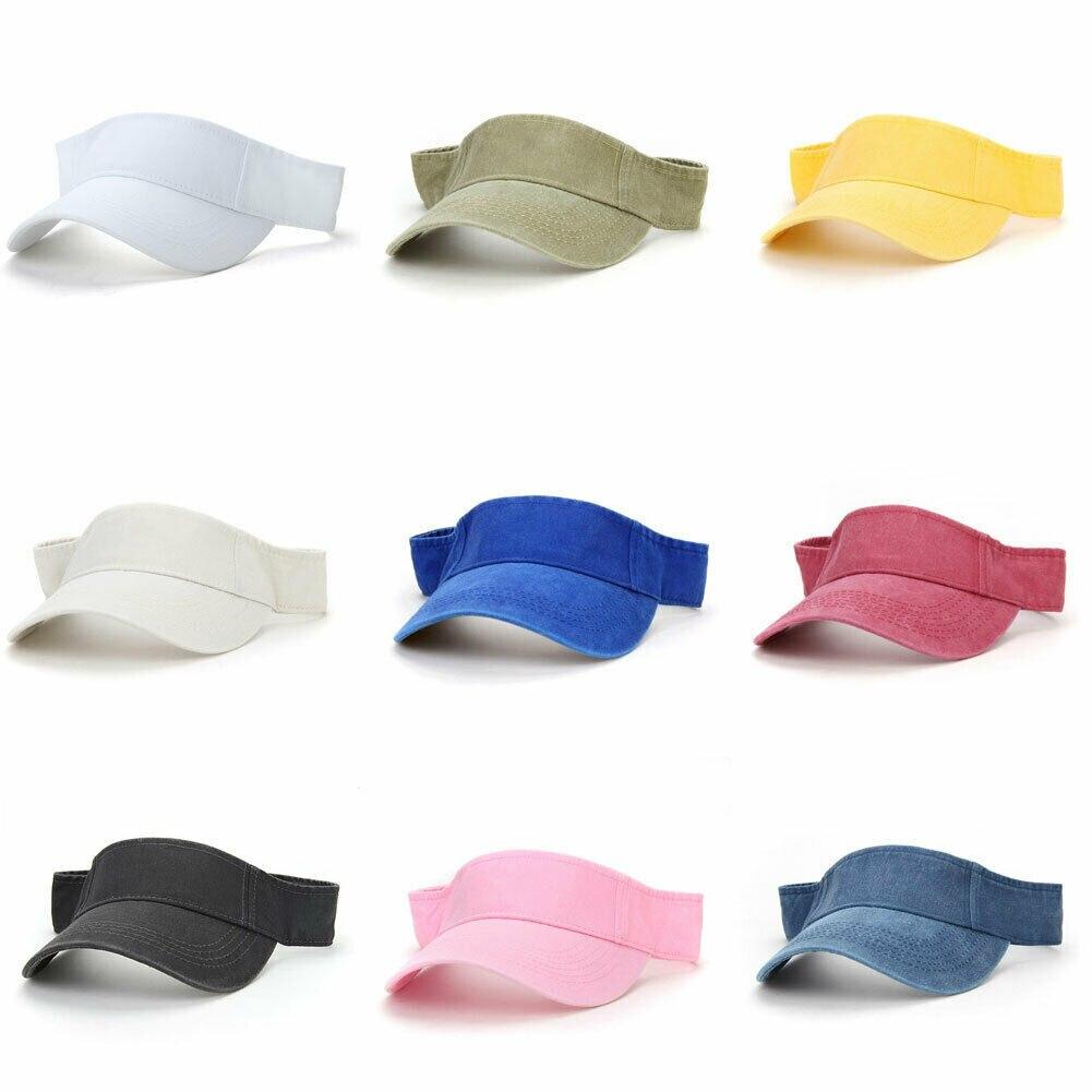 2019 New Men Women Visors Topless Adjustable Leather Strap Back Fine Sunshade Hats Unisex Summer Cap Visor