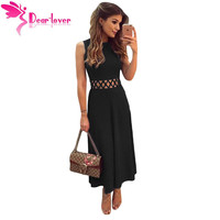 Dear Lover Long Dresses Elegant Party Black Caged Waist Fit And Flare Office Ladies Maxi Dress