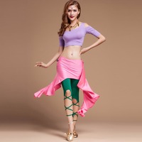 2017 Women Sexy Belly Dance Costumes Top Pants Hip Scarf Slim Straps Flamenco Dance Costumes Training