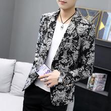 Mens Suits Tuxedos Hot Stamping Casual Blazer Jacket Gold Silver Dress Suit Floral 2019