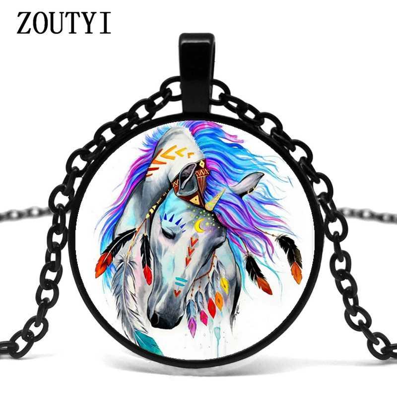 2019/new hot dầu màu mô hình con ngựa lõm glass mặt dây chuyền vòng cổ, thời trang quà tặng vòng cổ. Bán buôn