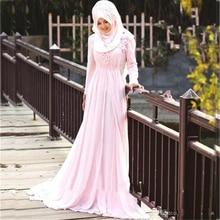 2017 Muslim Hijab Prom Dresses Customized A Line Beaded Crystal Arabic Long Sleeves In Dubai Pink Chapel Train Evening Dress