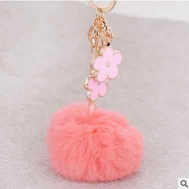 """אופנה פרווה פום פום keychain אורך 19 ס""""מ רכב מפתח שרשרת טבעת אמיתי ארנב פרווה כדור pompom הרך portachiavi נשים תיק תליון"""