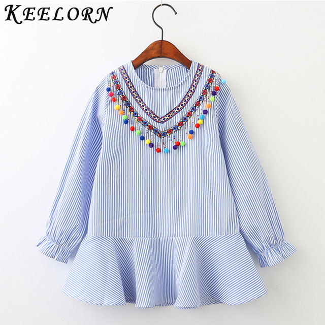 e419af5c60d0 Keelorn Girls Shirts 2019 Brand Baby Girl Clothes Blue Striped Design for  kids clothes Colorful ball
