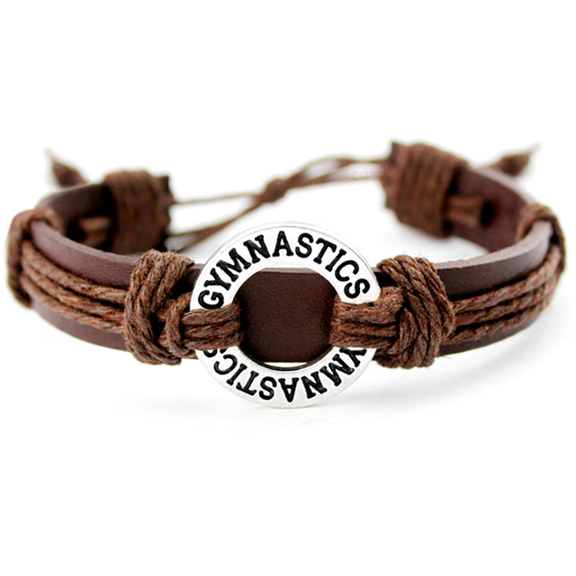 Gymnastics Calisthenics Golf Soccer Football Baseball Softball Volleyball Lacrosse Hockey Tennis Charm Leather Bracelets Jewelry