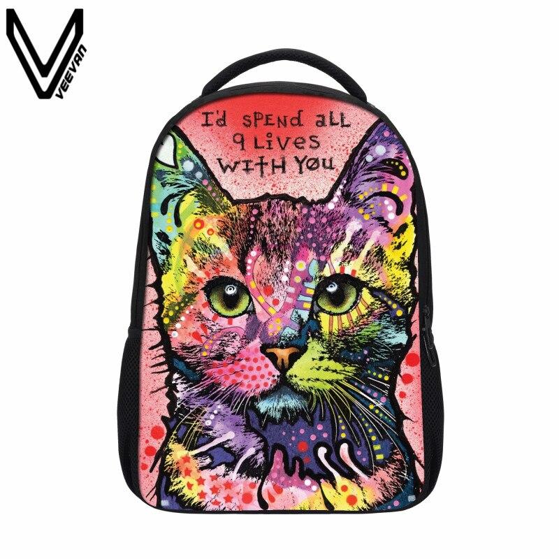 Veevanv 2018 пакета(ов) печать многоцветный котенок чехол для девочки детская школа Книга Рюкзак популярные женские Cat Рюкзак ...