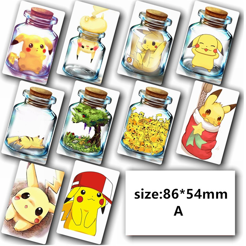 50pcs/L Mobile Game Pokemon Go Team Pikachu Stickers Credit Card Decorations Wall Stickers Pikachu Frosted Card Stickers