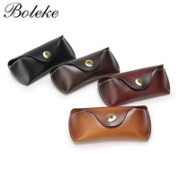 Vintage Handmade Cowhide Genuine Leather Eyeglass Case Vegetable Tanned Eyewear Sunglasses Box Women Bronze Clasp Coin