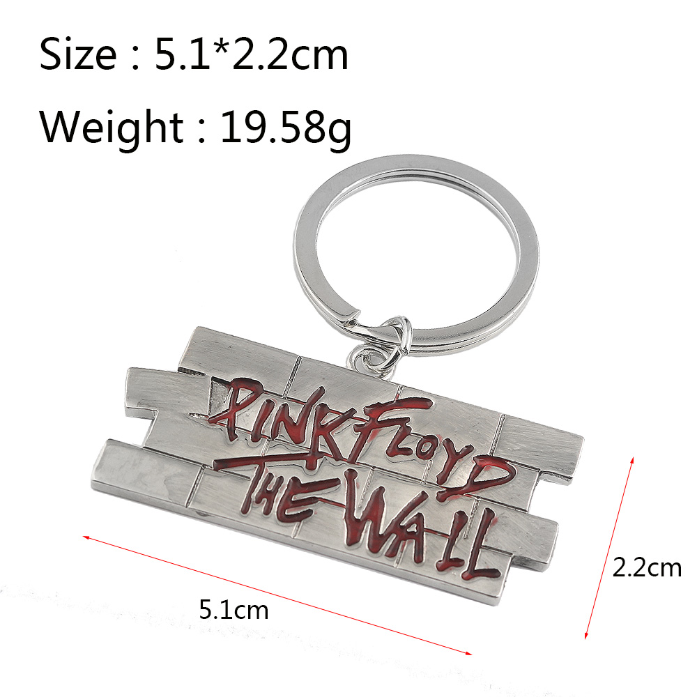 RJ New Music Rock Band Pink Floyd The Wall Keychain Pendant Red Pink Floyd The Wall Letter Keychains Keyring For Music Fans